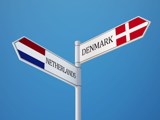 Denmark Netherlands  Sign Flags Concept