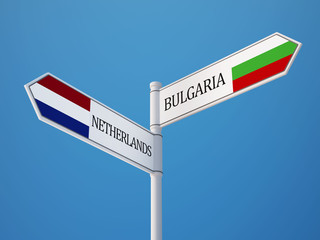 Bulgaria Netherlands  Sign Flags Concept