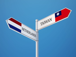 Taiwan Netherlands  Sign Flags Concept