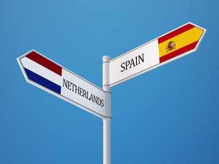 Spain Netherlands  Sign Flags Concept