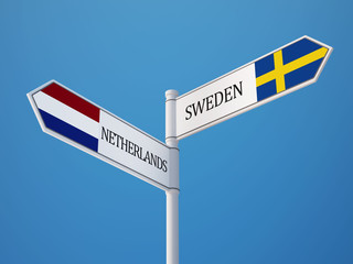 Sweden Netherlands  Sign Flags Concept