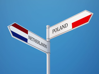Poland Netherlands  Sign Flags Concept