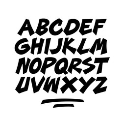 Cartoon comic doodle font alphabet. Vector