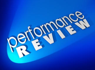Performance Review  White 3d Words Blue Background