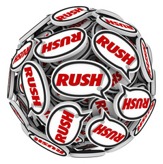 Rush Word Speech Bubbles Ball Fast Action Urgency Deadline