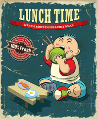 Vintage Lunch time poster design