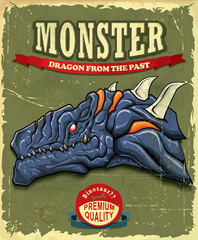 Vintage Monster dragon poster design