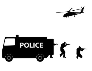 Vector illustration Special ForcesSWAT Team Police
