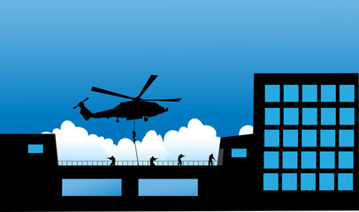 Vector illustration Special Forces   Police hostage Rescue