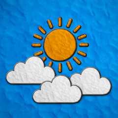 Color children's sun and clouds plasticine