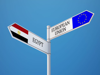 European Union Egypt  Sign Flags Concept