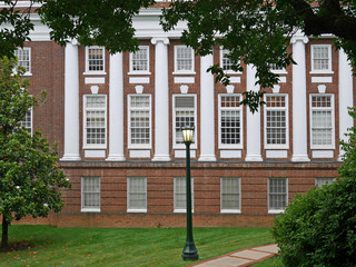 College building with white columns