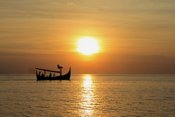 Balinese Fishing Boat at Sunset