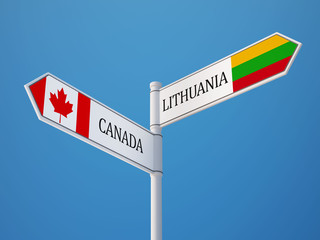 Lithuania Canada  Sign Flags Concept