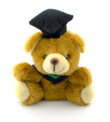 Teddy bear wearing a black hat