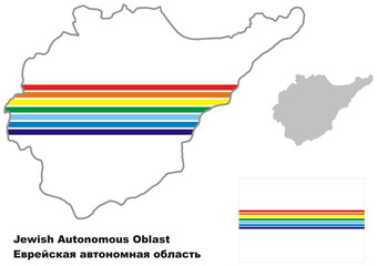 outline map of Jewish Autonomous Oblast with flag