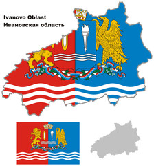 outline map of Ivanovo Oblast with flag