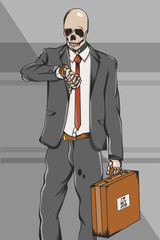 Working class skull employee on suit go to work Illustration