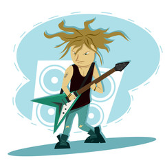 Hardcore guitar long hair player Illustration