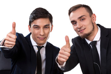Two businessmen showing ok sign