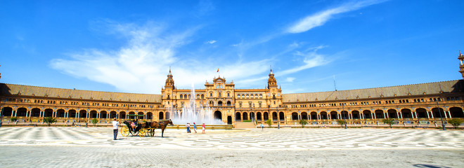 "Panoramic of the ""Plaza de España"" (Spain's Square) in Seville,"