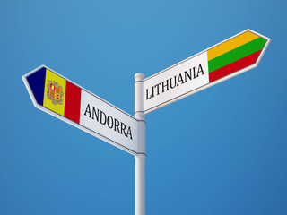 Lithuania Andorra  Sign Flags Concept
