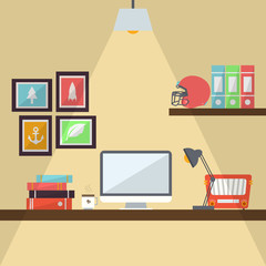 Workstation Flat Design Illustration