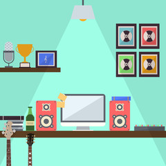 Musician Studio Workstation Flat Design Illustration