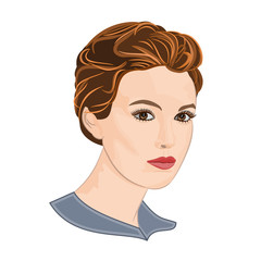 Girl with short hair elegance portraits vector illustration