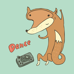 dancing cute fox vector illustration, hand drawn