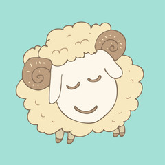 cute cartoon lamb with curled horns, vector illustration