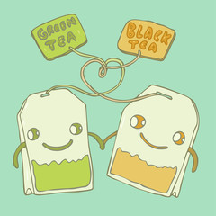 Tea bags, love between green tea and black tea