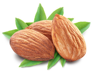 Almonds with leaves isolated.