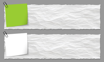 set of two banners with crumpled paper and paper on note