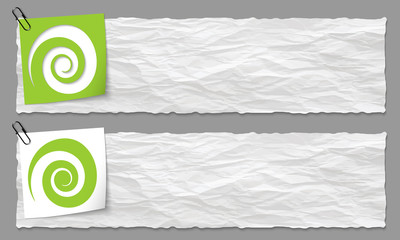 set of two banners with crumpled paper and spiral