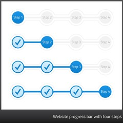 Blue website progess bar with four steps