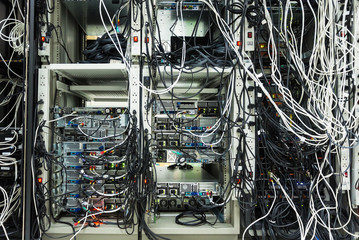 Servers in a Data center room .