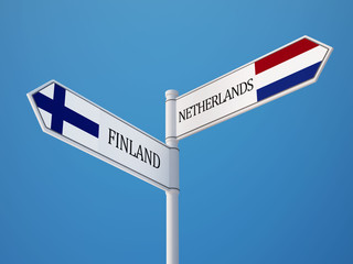 Finland Netherlands  Sign Flags Concept