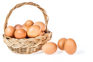 Isolated egg in basket