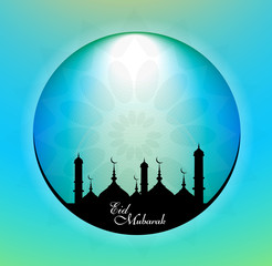 Ramadan kareem bright blue colorful circle creative illustration