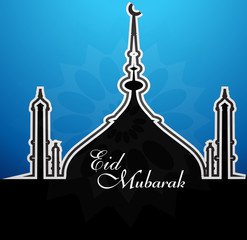Mosque with shiny blue colorful eid mubarak background vector il