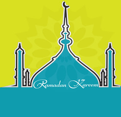 Ramadan kareem beautiful card for festival with shiny Mosque and