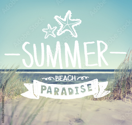 Summer Quote on Beach Background - 66648095