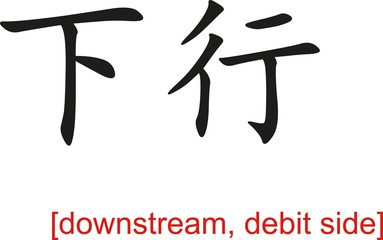 Chinese Sign for downstream, debit side