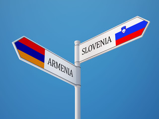 Slovenia Armenia  Sign Flags Concept