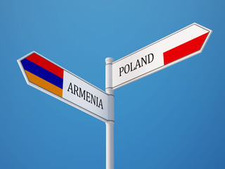 Poland Armenia  Sign Flags Concept