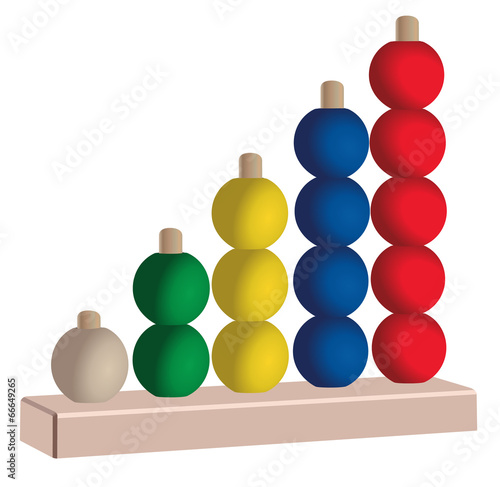 Wooden or plastic five colored vertical abacus toy