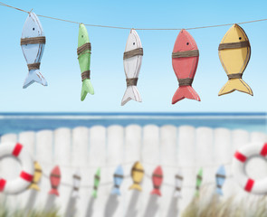 Fish Toys Handing by the Beach