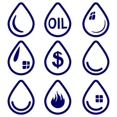 drop  - icon  set symbol vector  illustration