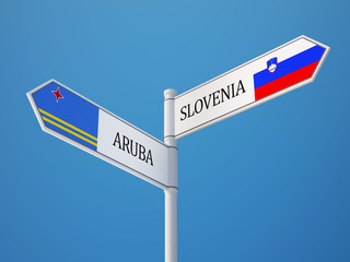 Slovenia Aruba.  Sign Flags Concept